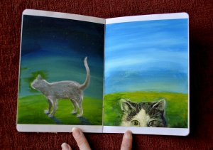 Sketchbook cat paintings