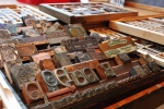 Featured in this photo are just a few of Medley's large collection of wood and metal letter types.