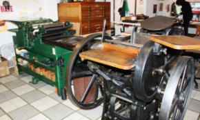 Featured are two of the letterpress machines Medley has in The Workshop